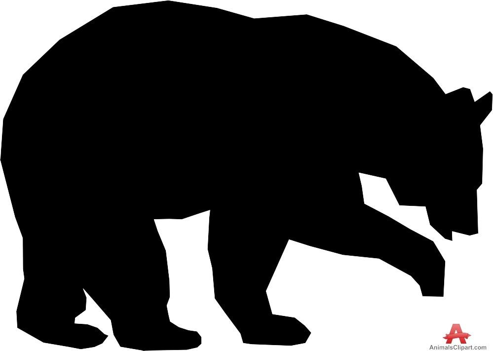 999x711 Bear Cub Silhouette Clip Art