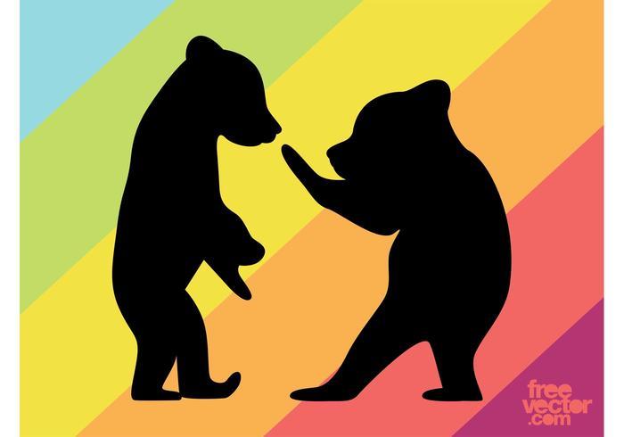 700x490 Bear Cubs Silhouettes