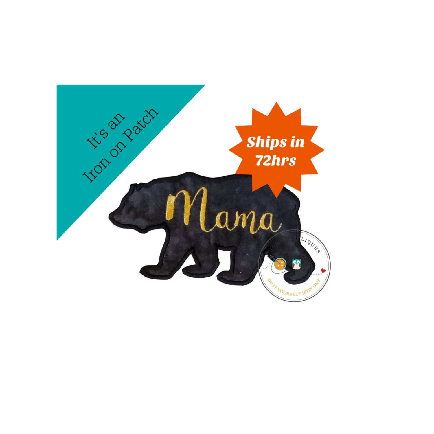 1500x1500 Mama Bear Silhouette Iron On Applique Large Black Bear Products