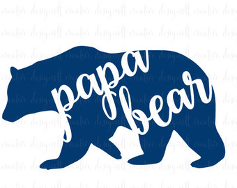 340x270 Papa Bear Svg File, Bear Family Svg File, Bear Svg File