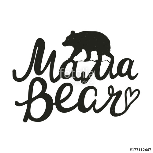 500x500 Cute Vector Typography Poster With Bear Silhouette. Illustration