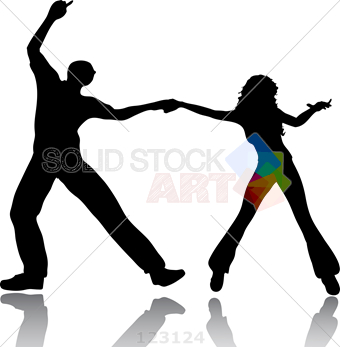 340x347 Stock Illustration Of Silhouette Of A Man And A Woman Dancing