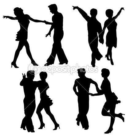423x450 Vector Silhouettes Dancing Man And Woman Stockvectorbeeld