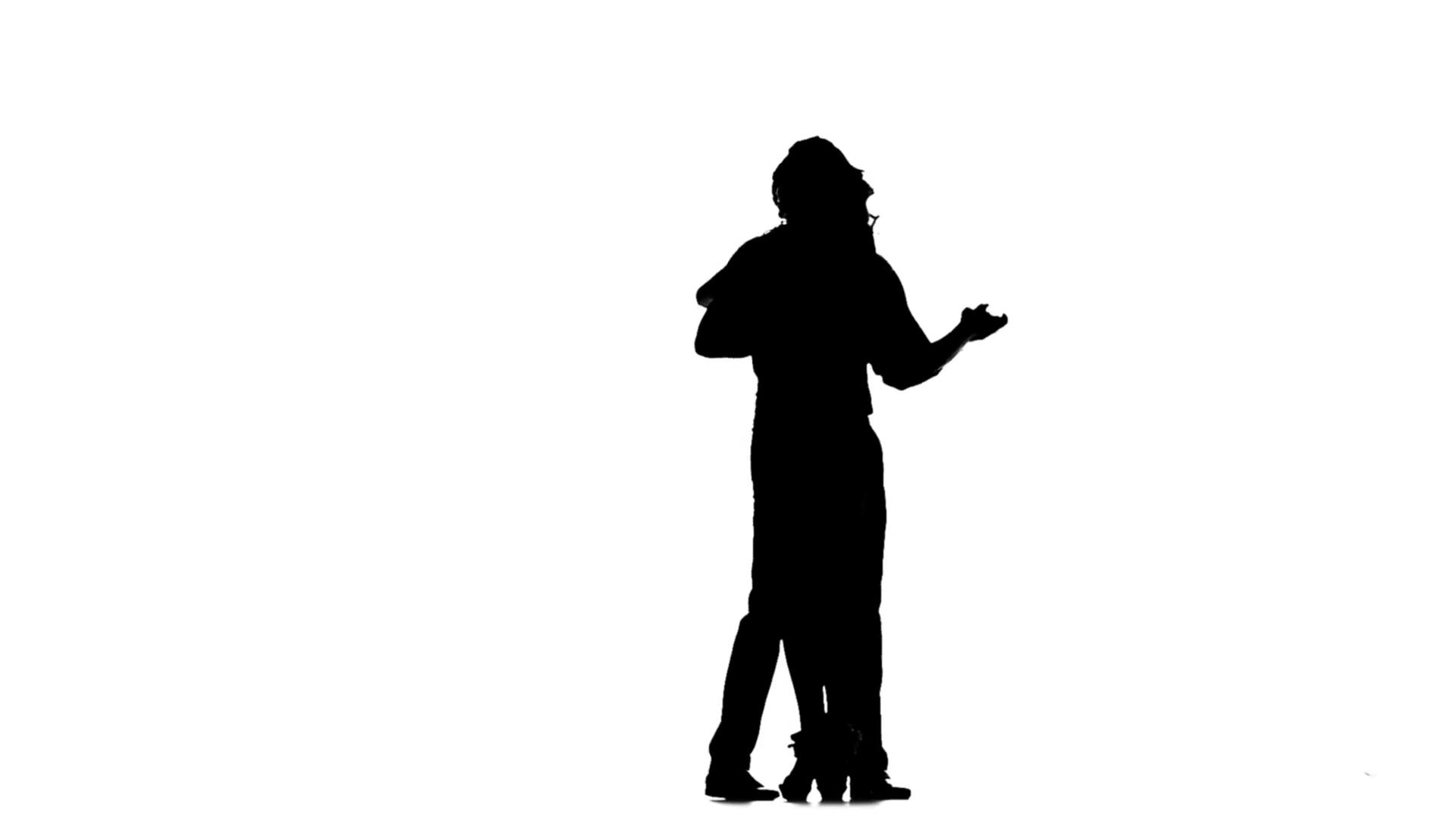 1920x1080 Couple Lovers Man And Woman Dancing Tango In Studio. Silhouette
