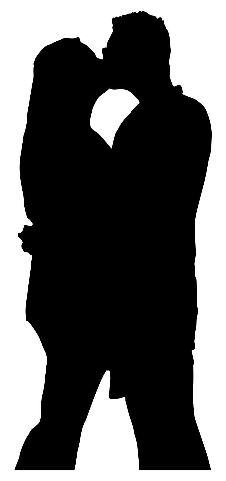 Man And Woman Hugging Silhouette