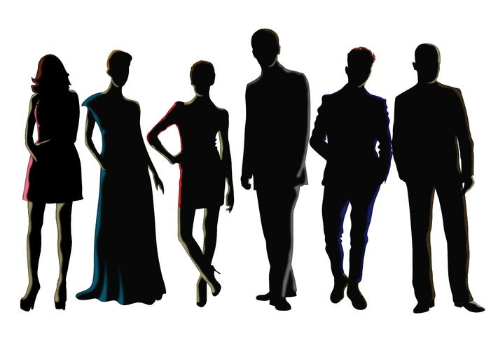 711x490 Men And Women Silhouette Vectors