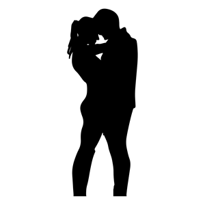 300x300 Romantic Couple Silhouette Minus Ground Clipart, Cliparts