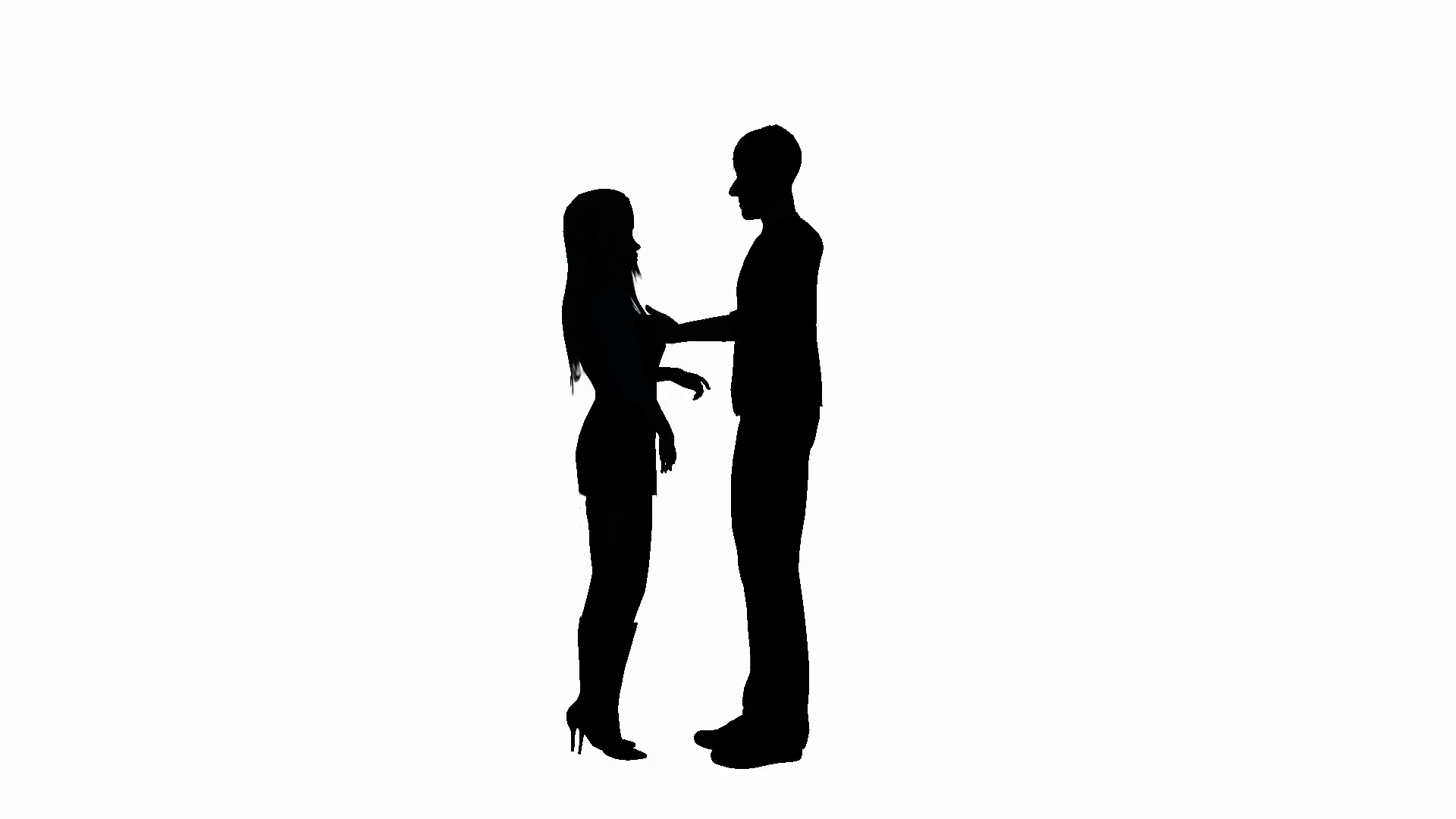 1920x1080 Silhouette Of A Man And Woman Having An Animated Conversation