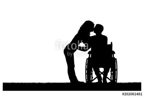 500x337 Vector Silhouette Of A Disabled Man In A Wheelchair And His Wife