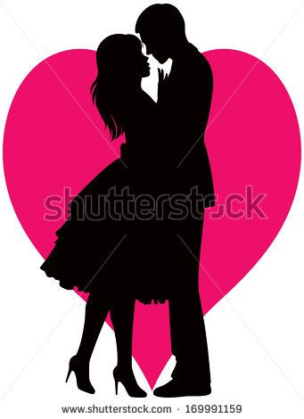 341x470 Illustration Black Silhouette Of Lovers Embracing On A White