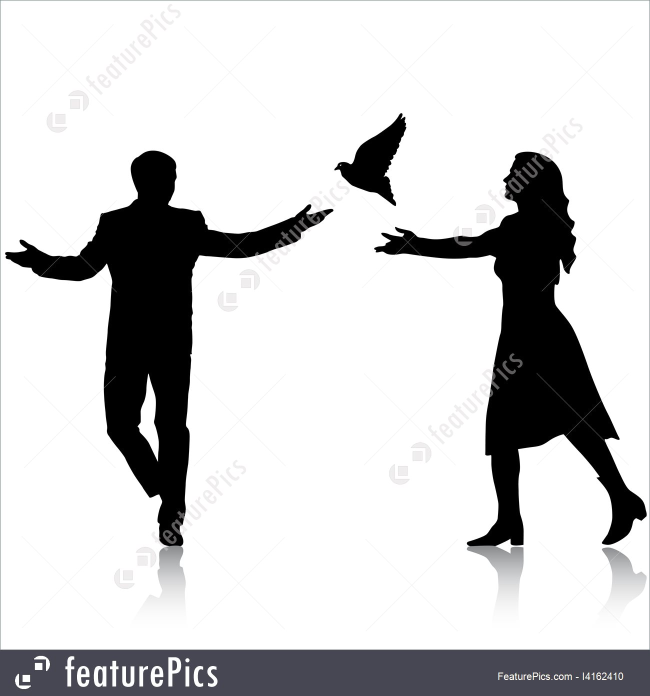 1300x1392 Concept Of Love Or Peace Silhouettes Girl And Guy Released Dove