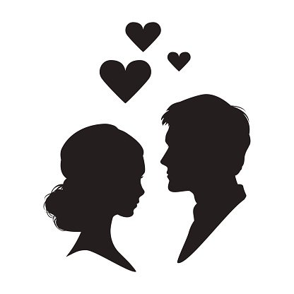416x416 Silhouette Of The Woman And Man On White Premium Clipart