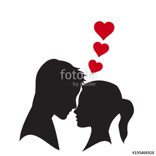 500x500 Vector Logo Lovers. Silhouette Of Man And Woman With Heart Stock