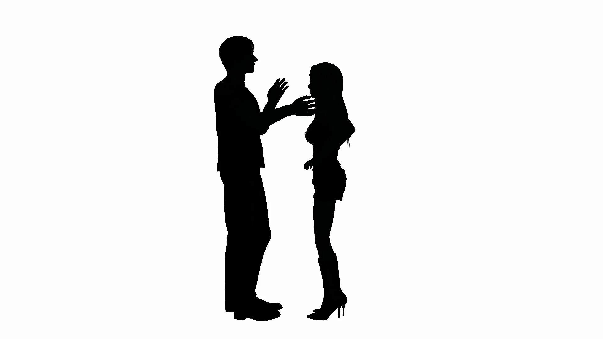 1920x1080 Man And Woman Having A Conversation In Silhouette Motion
