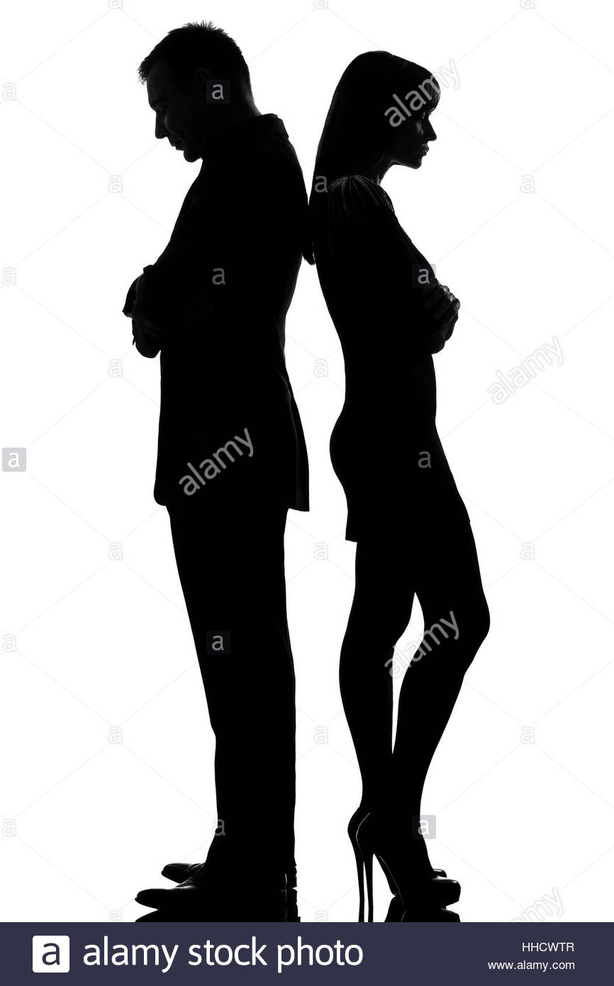 866x1390 One Caucasian Couple Standing Back To Back Man And Woman Sad