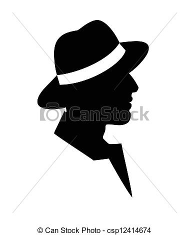 378x470 Man In A Hat Black Silhouette. Man In A Hat Face Profile