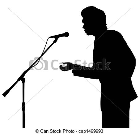 450x433 Man Silhouette Speech To Microphone. On Stage. Isolated. Drawings