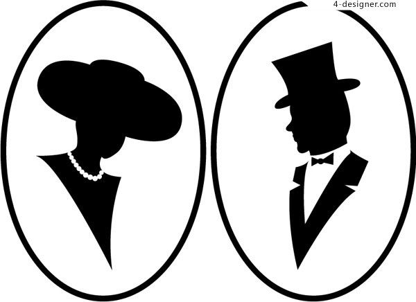 600x436 Women S Men S Bust Silhouette Vector Material Cartelli, Icone
