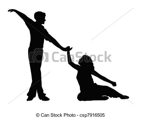 450x376 Dancing Couple Boy Helping Girl To Feet Silhouette Clipart Vector