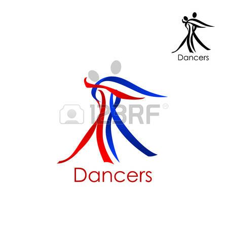450x450 Illustration Of Dancing Couple Abstract Logo Or Emblem Template