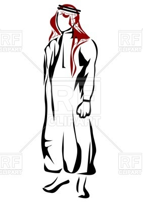 283x400 Silhouette Of Arabic Man In Thawb Royalty Free Vector Clip Art
