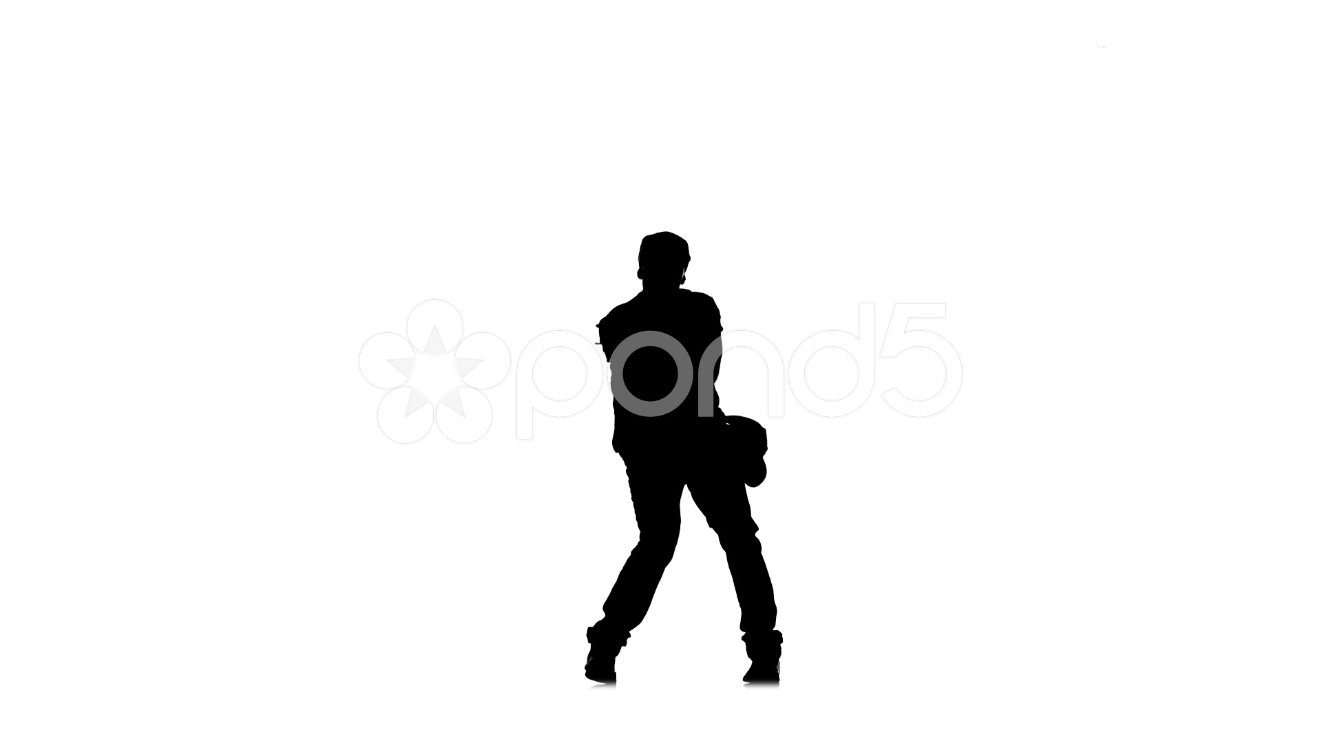 1920x1080 Stylish Man Dancing Hip Hop Kramp On White Background, Silhouette