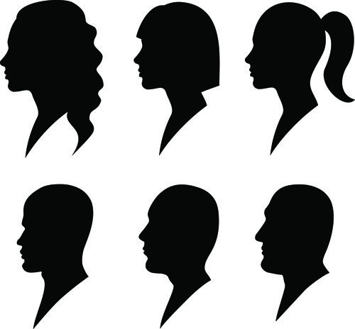 500x464 Creative Man And Woman Silhouettes Vector Set 05