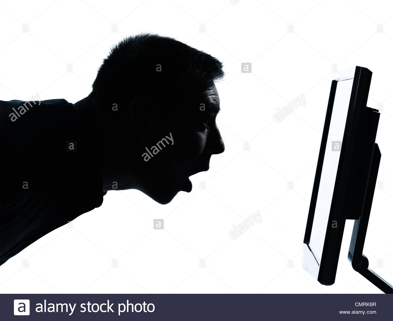 1300x1061 One Caucasian Business Man Face Silhouette With Computer Screen