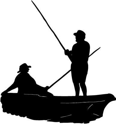 386x411 Fancy Fishing Boat Silhouette Clip Art Men Fishing John Boat Decal