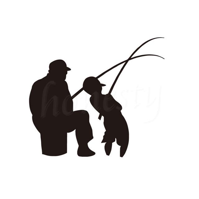 640x640 Man And Boy Fishing Car Wall Sticker Home Glass Window Door Fish