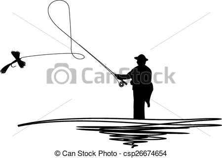 450x320 Silhouetted Man Casting Fishing Fly. Cartoon Illustration