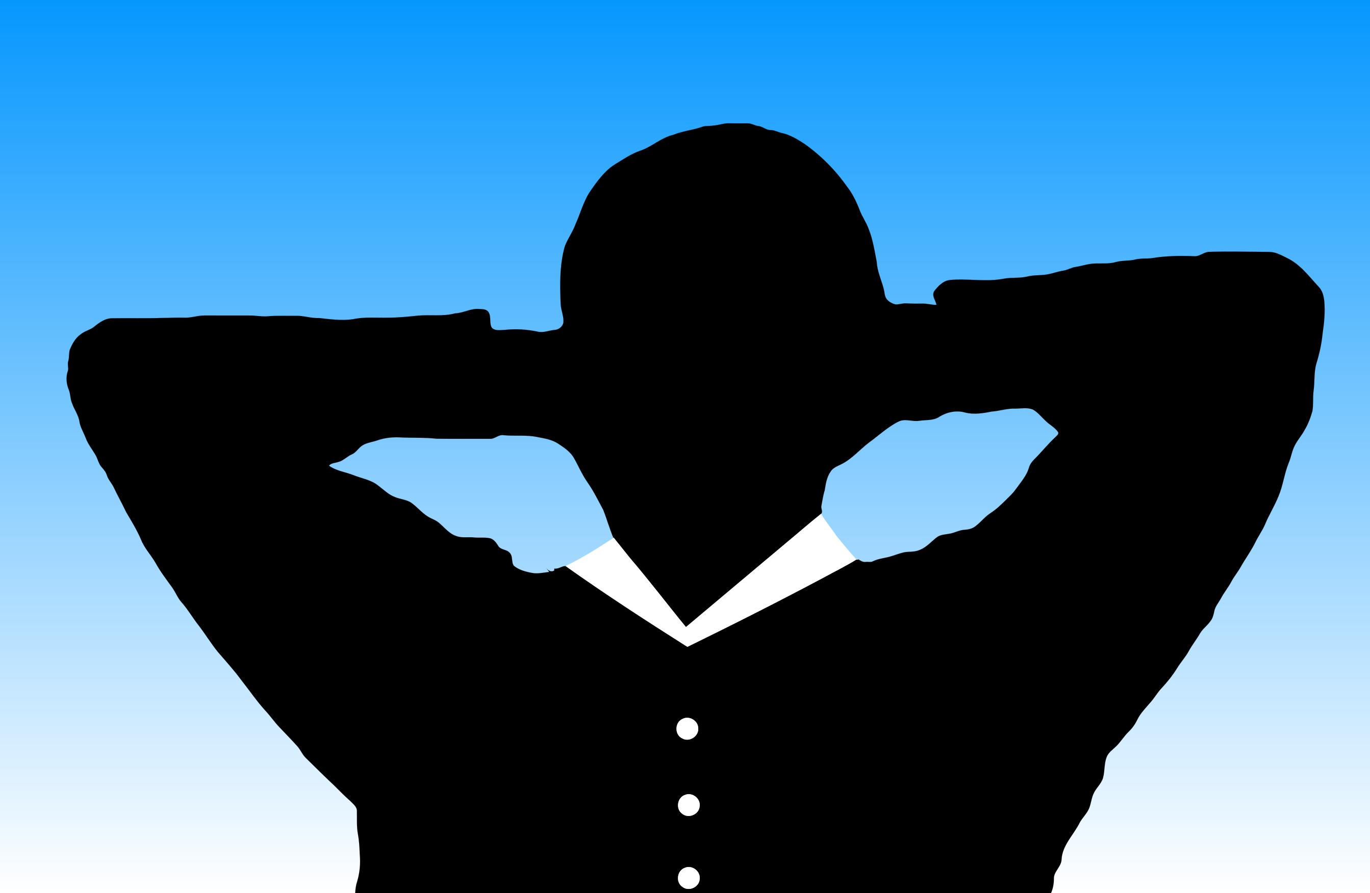 2686x1752 Man Relaxing With Hands Behind Head Silhouette With Background