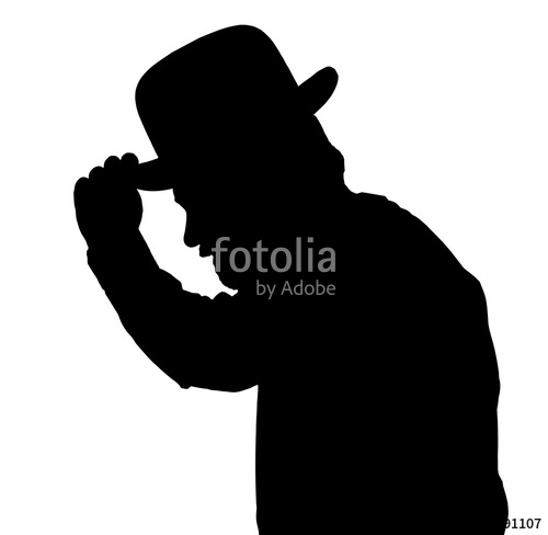 500x488 Vintage Silhouette Of Bearded Man Greeting By Tilting Hat Stock