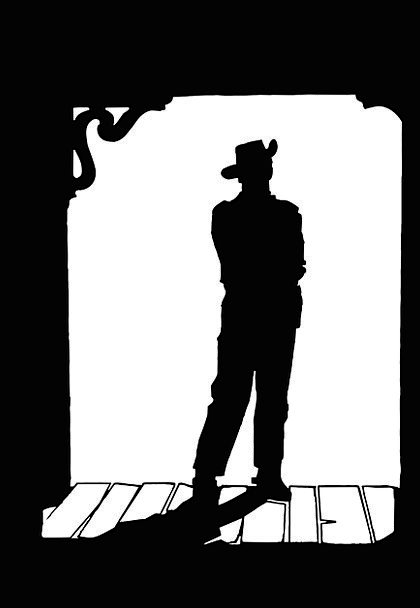 420x608 Man, Gentleman, Outline, Western, Cowboy Movie, Silhouette, Cowboy