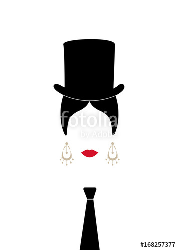357x500 Lady With Top Hat And Tie , Portrait Of Modern Latin Or Spanish