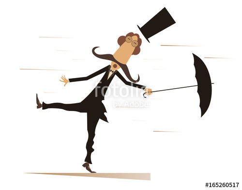 500x392 Cartoon Man, Umbrella And Windy Day Isolated. Funny Mustache Man
