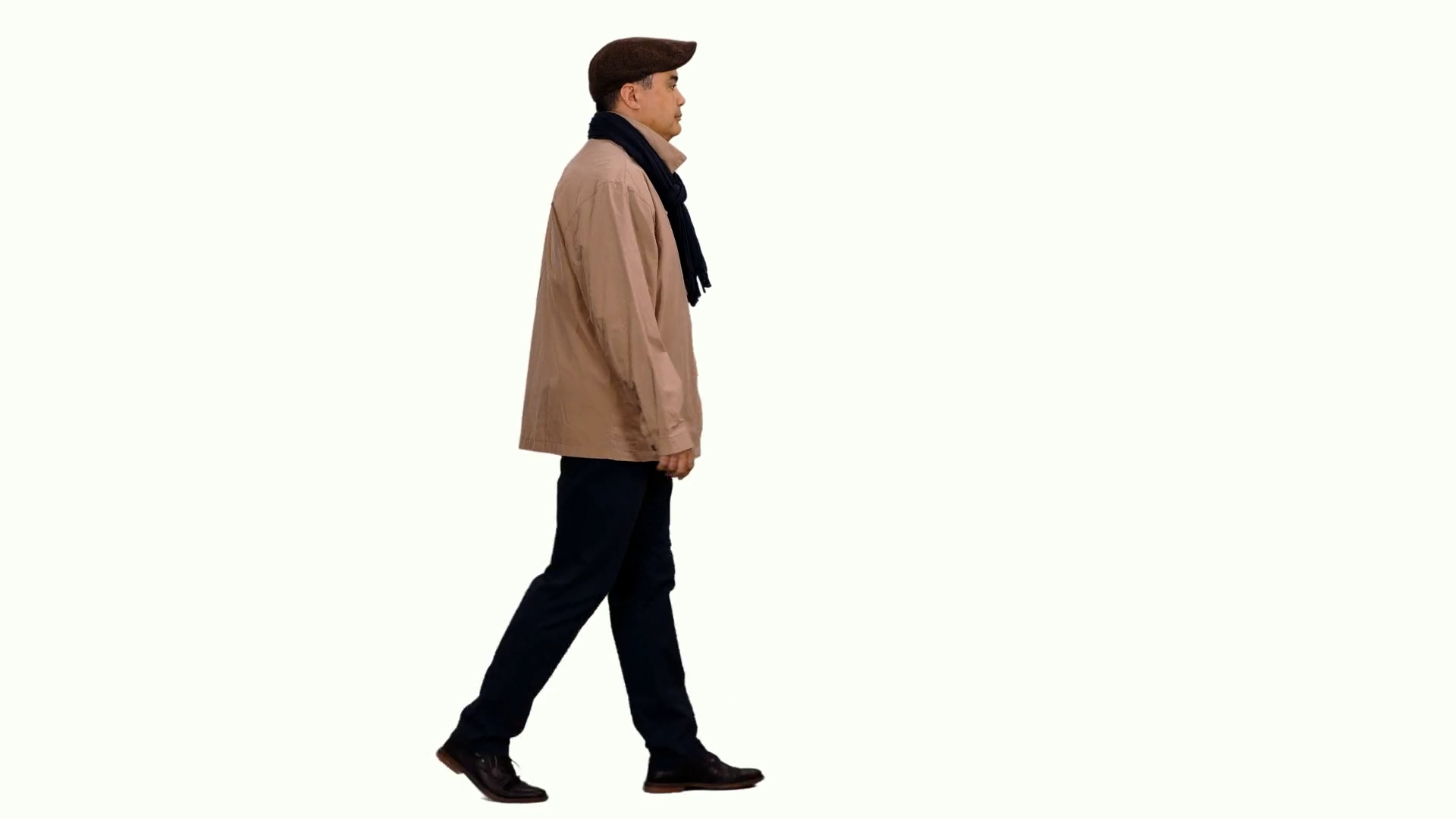 1920x1080 Side View Walking Elegant Man In Jacket With Scarf And Flat Cap