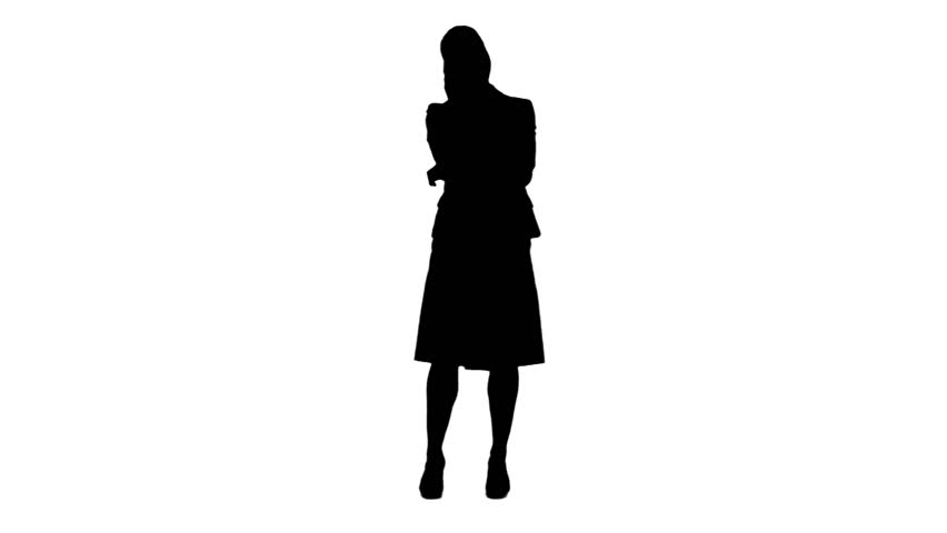 852x480 A Silhouette Of A Man Standing Against A White Background Stock