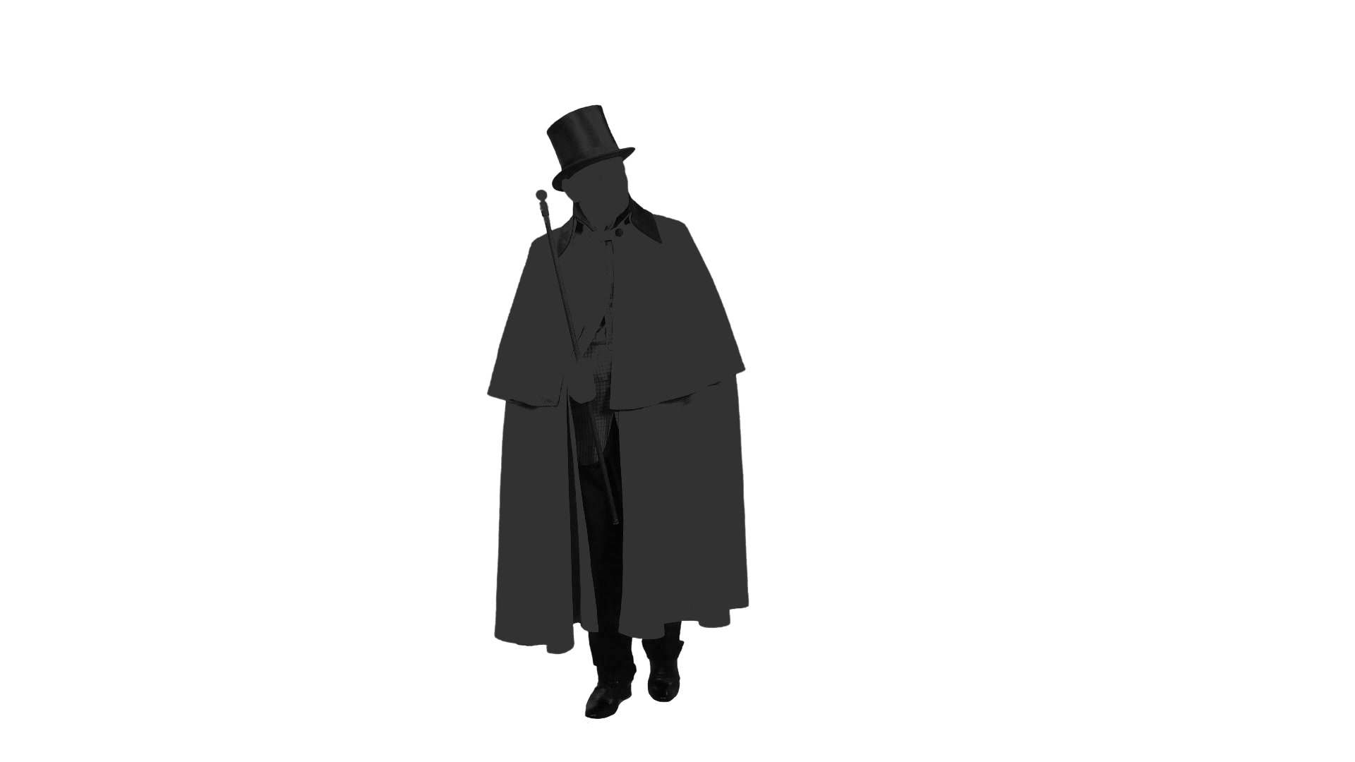 1920x1080 Silhouette Of A Man In A Cylinder Hat Walks With A Cane, Alpha