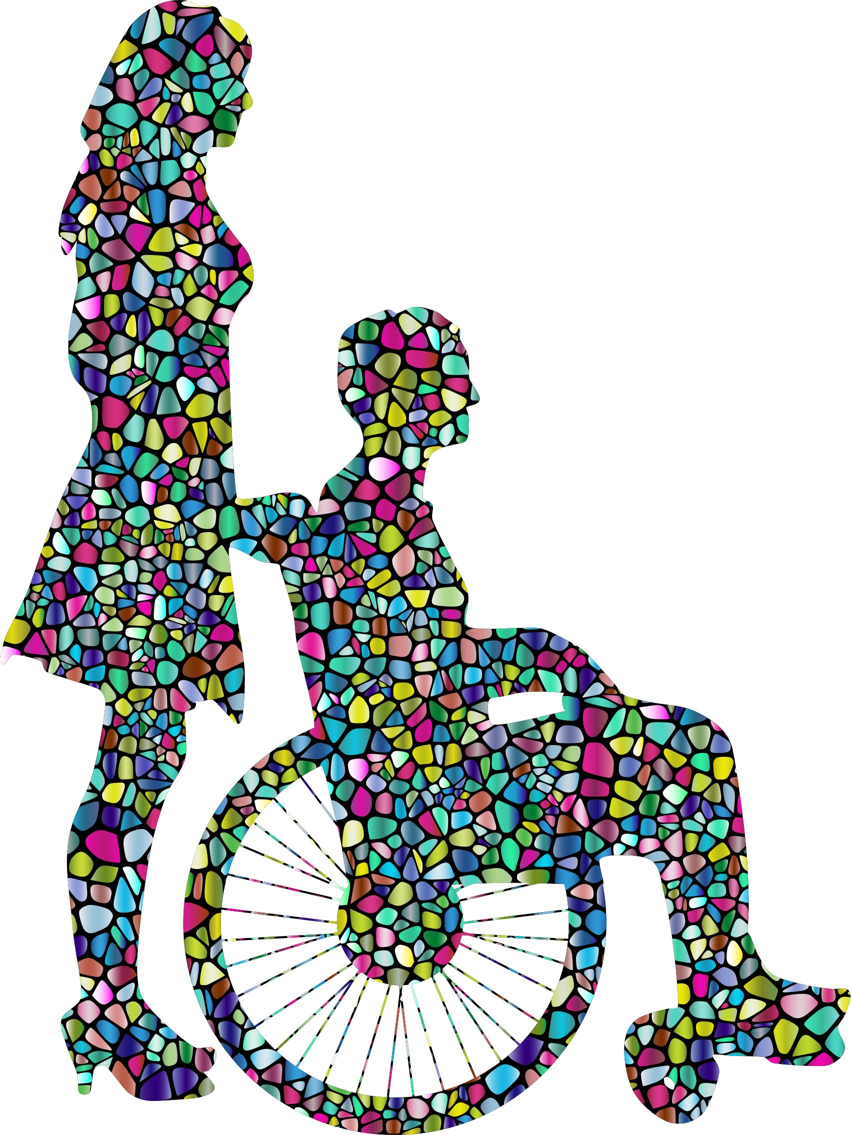 1702x2270 Polyprismatic Tiled Woman Pushing Man In Wheelchair Silhouette