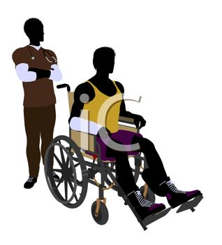 318x350 Silhouette Of An Athletic Young Man In A Wheelchair And His