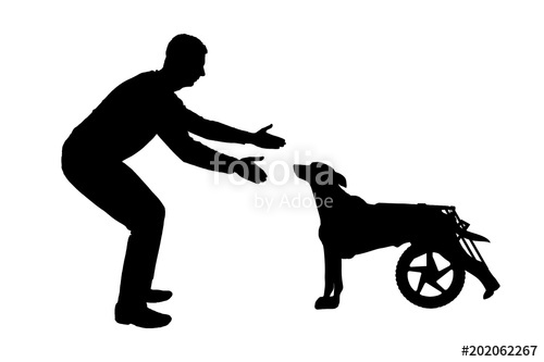 500x333 Silhouette Vector Man Calling For A Paralyzed Dog In A Wheelchair
