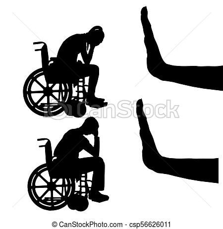 450x462 Silhouette Vector Of Sad Disabled Woman And Man In Clipart