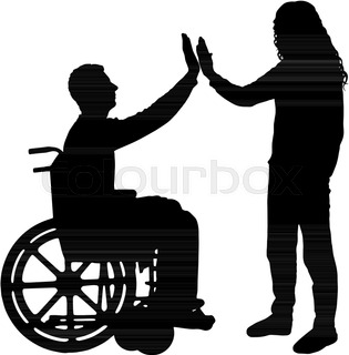 315x320 Vector Silhouette Of Woman In Wheelchairnd Man