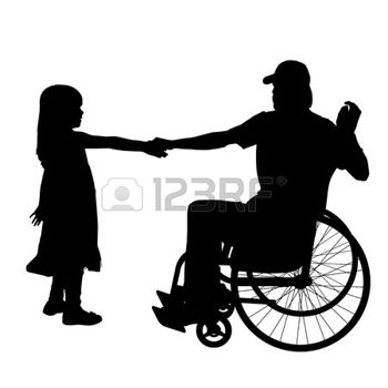 350x350 Vector Silhouettes Man Who Is In A Wheelchair With A Daughter