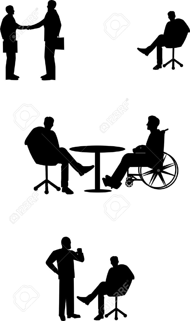 772x1300 Simple Diversity People With Wheelchair Clipart Black And White