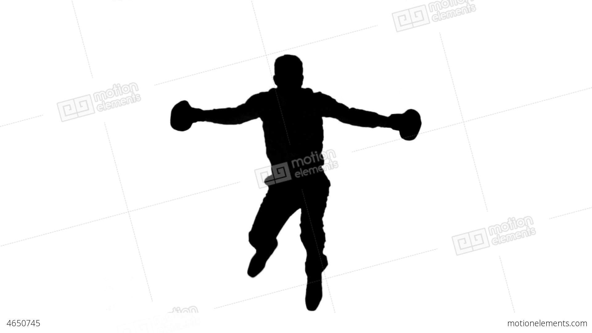 1920x1080 Silhouette Of Man Jumping And Boxing On White Back Stock Video