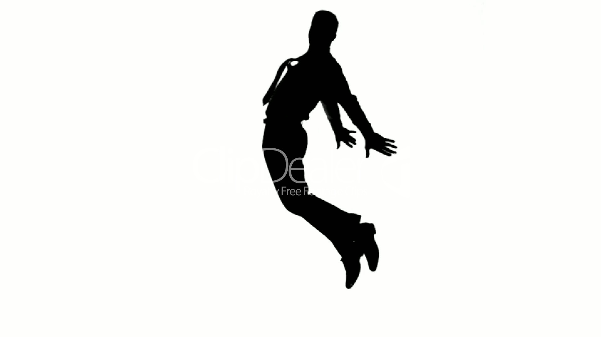 1920x1080 Silhouette Of Man With A Tie Jumping On White Background Royalty