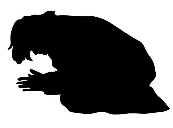 570x422 Man Praying Decal. Decal Of Praying Man Silhouette.