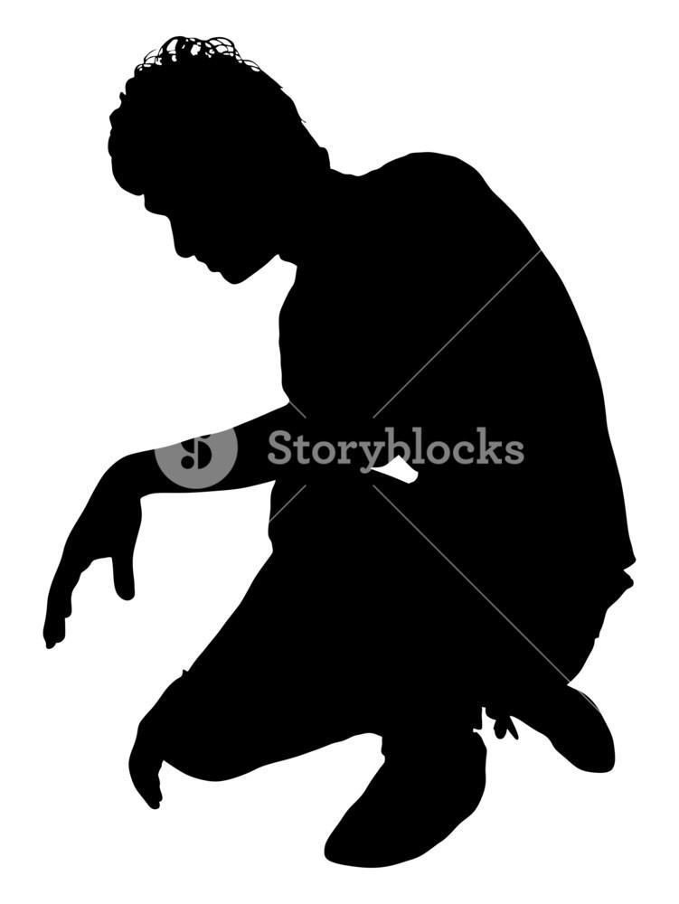 751x1000 Man Sitting Silhouette Royalty Free Stock Image